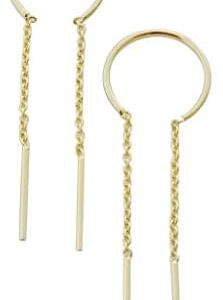 HONEYCAT Threader Drop Bar Chain Earrings in Gold, Rose Gold, or Silver   Minimalist, Delicate Jewelry