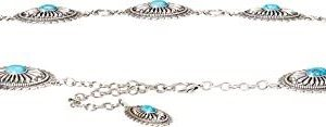 Ariat Turquoise Concho Chain Belt - Ladies, Silver