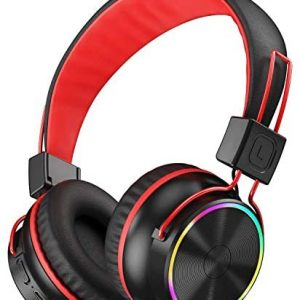 PeohZarr Kids Wireless Headphones with Microphone, LED Light Up 94dB Kids Bluetooth On-Ear Headphones for Boys Girls Children, 25 hrs Playtime, Foldable, Stereo Sound Headphones for School Home Travel