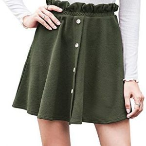 Aifer Women's Mini Skirt Button Down High Waist Paperbag Flared Casual A-Line Skater Skirts