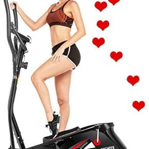 ANCHEER Elliptical Machine for Home Use, Elliptical Exercise Machine Trainer with Large Pedal & LCD Monitor Quiet Smooth Driven Max Weight Capacity 390lbs