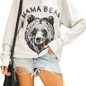 Blooming Jelly Womens Pullover Crewneck Sweatshirt Long Sleeve Graphic Mama Bear Shirts Cute Tops