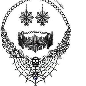 3 Pack Halloween Gothic Skull Skeleton Collar Choker Necklace Link Bracelet and Drop Earrings Jewelry Set for Women Girls
