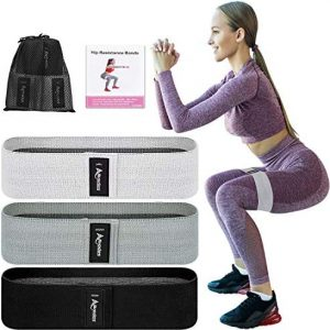 Allvodes Booty Bands, Fabric Resistance Bands for Legs and Butt, Non Slip Exercise Bands for Women Men, Elastic Strength Squat Band, Workout Beginner to Professional - 3 Pack Set