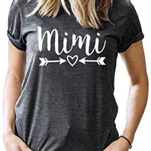 Mimi Grandma Mothers Day Shirt Women Arrow Heart Short Sleeve Graphic Tees Shirt Blessed Mimi Nana T-Shirt Tops