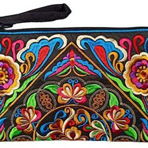 Sabai Jai - Embroidered Clutch Purse with Wristlet - Large Boho Purses and Handbags