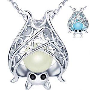 925 Sterling Silver Bat Necklace Earrings Bracelet Cute Animal Glowing in The Dark Halloween Jewelry Gift for Women Girl